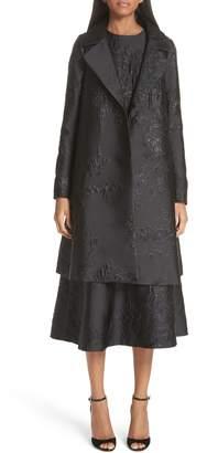 Co Metallic Floral Jacquard Coat
