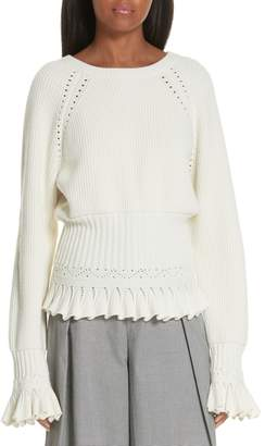 Opening Ceremony Pointelle Detail Ruffle Trim Sweater