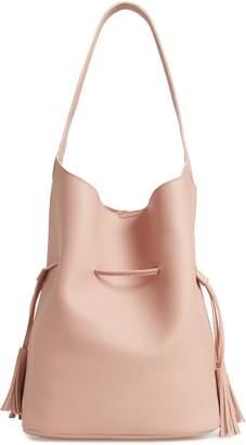Street Level Drawstring Faux Leather Bucket Bag