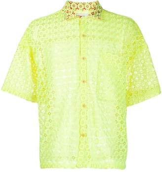 Facetasm floral embroidered lace shirt