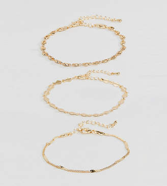 Asos DESIGN Curve pack of 3 bracelets with delicate chain and disc detail in gold