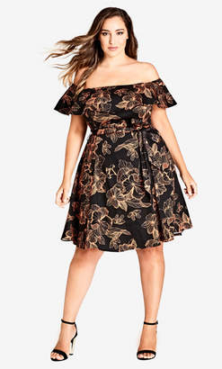 City Chic Floral Off Shoulder Dress