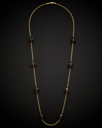 Italian Gold 14K Smokey Quartz Necklace