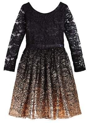 Us Angels Girls' Ombré Glitter Lace Dress - Big Kid