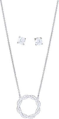 Crislu Silver-Tone Circle Pendant Necklace & Earrings Set