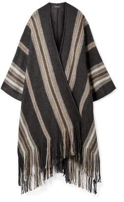 Isabel Marant Kalibo Fringed Striped Mohair-blend Poncho - Anthracite