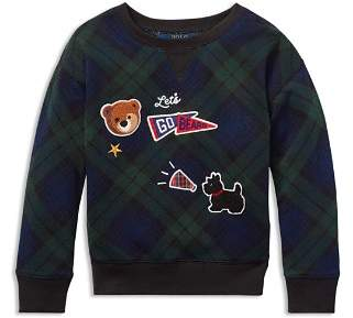 Ralph Lauren Girls' French Terry Plaid Sweatshirt with Chenille Patches - Little Kid