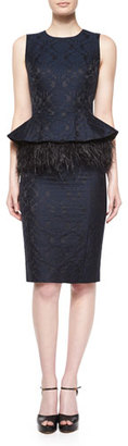 Michael Kors Sleeveless Feather-Peplum Sheath Dress, Navy/Black $2,495 thestylecure.com