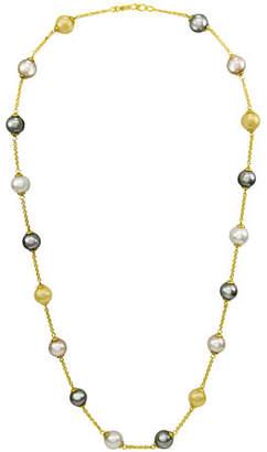 """Majorica Champagne, Gray & Nuage Pearl Necklace, 16"""""""