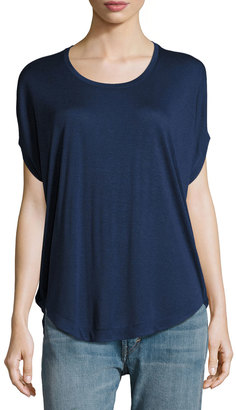 Vince Circle Dolman-Sleeves Tee, Blue $89 thestylecure.com