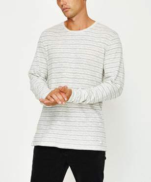Arvust Ollie Stripe Long Sleeve T-shirt Grey Marle Vintage White