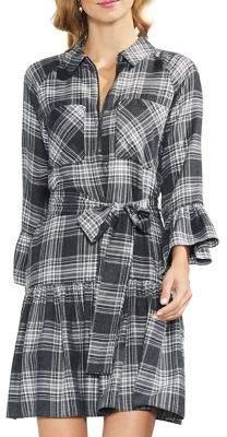 Vince Camuto Menswear Charm Plaid Ruffled Mini Dress
