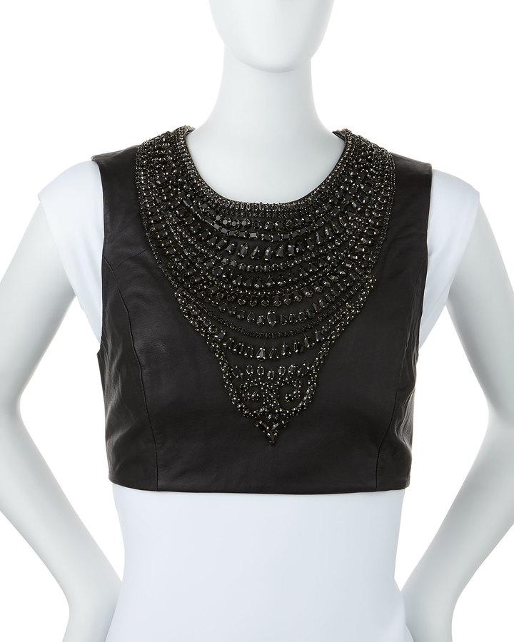 MissoniMissoni Embellished Leather Pauldron, Black