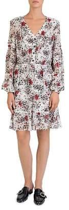 The Kooples Silk Flying Flowers Printed Dress