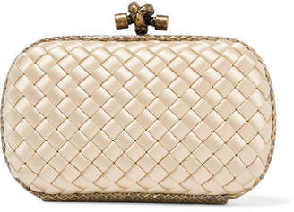Bottega Veneta The Knot Watersnake-trimmed Intrecciato Satin Clutch - Pastel yellow