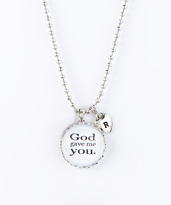 Silvertone 'God Gave Me You' Heart Initial Pendant Necklace