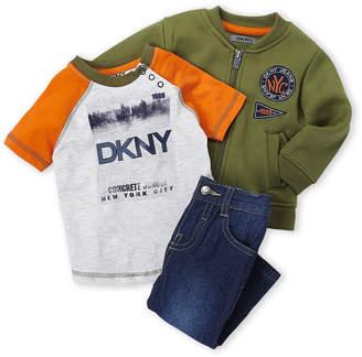 DKNY Infant Boys) 3-Piece Knit Bomber Jacket & Jeans Set