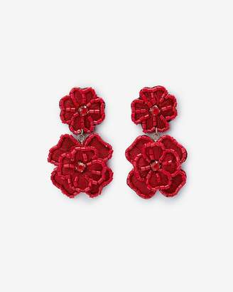 Express Beaded Fabric Flower Drop Earrings