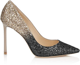 Jimmy Choo ROMY 100 Black and Nude Coarse Glitter Degrade Pointy Toe Pumps