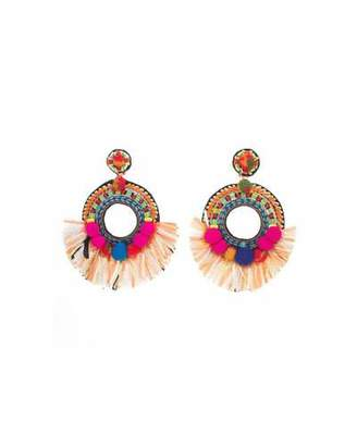 Ranjana Khan Beaded Raffia Statement Clip-On Earrings