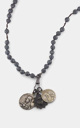 Miracle Icons Men's Vintage-Icon Beaded Rosary Necklace - Gray