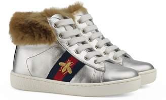 Gucci New Ace Faux Fur Trim High Top Sneaker