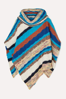 Missoni Striped Crochet-knit Turtleneck Poncho - Blue