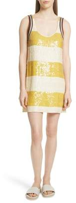 3.1 Phillip Lim Stripe Sequin Silk Shift Dress