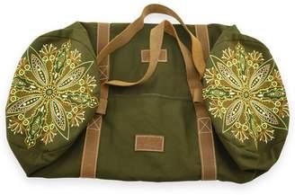GISY - Tree Mandala Embroidered Canvas & Leather Barrel Bag