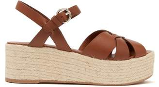 2ed5336196187 Prada Criss Cross Leather Wedge Espadrille Sandals - Womens - Tan