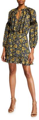 Veronica Beard Ida Printed Lace-Inset Flounce Dress