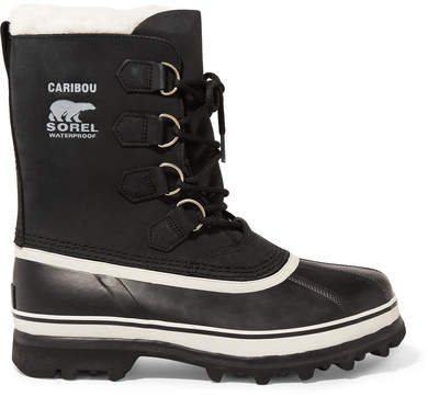 Sorel - Caribou Waterproof Leather And Rubber Boots - Black