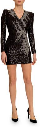 Balmain Sequin Embellished V-Neck Dress