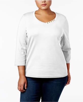 Karen Scott Plus Size Cotton Button-Trim V-Neck Top, Created for Macy's