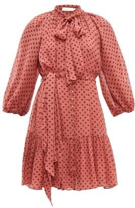 Zimmermann Espionage Polka Dot Chiffon Mini Dress - Womens - Pink Print