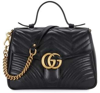 5829f5636a872 at Harvey Nichols · Gucci GG Marmont Black Leather Shoulder Bag