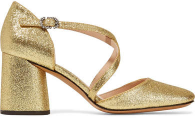 Marc JacobsMarc Jacobs - Haven Glittered Leather Pumps - Gold