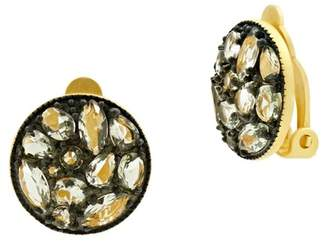 Freida Rothman Rose d'Or Disc Clip Earrings