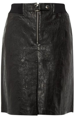 A.P.C. Jenn A Line Leather Skirt - Womens - Navy