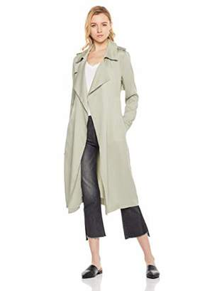 MEHEPBURN Women's Lapel Duster Jacket Tencel Cardigan Trench Coat Outwear with Belt M