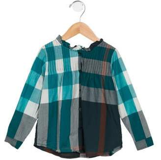 Burberry Girls' Exploded Check Long Sleeve Top teal Girls' Exploded Check Long Sleeve Top