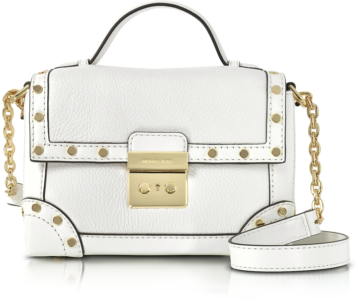 MICHAEL Michael Kors Michael Kors Cori Optic White Pebble Leather Small Trunk Bag w/Studs