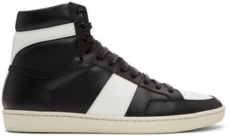 Saint Laurent Black and White Court Classic SL/10 High-Top Sneakers