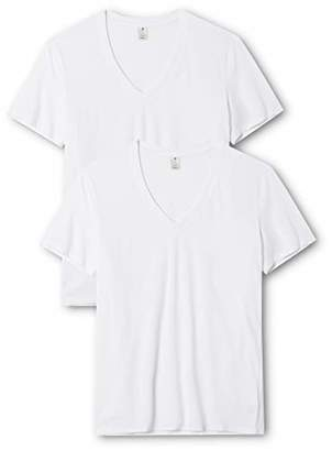 G Star Men's Base HTR V T S/s 2-Pack T-Shirt, (White Solid 2020)
