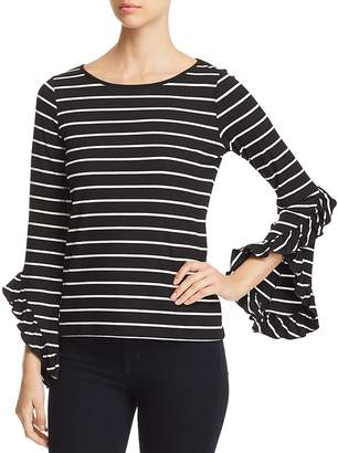 Red Haute Striped Bell-Sleeve Top