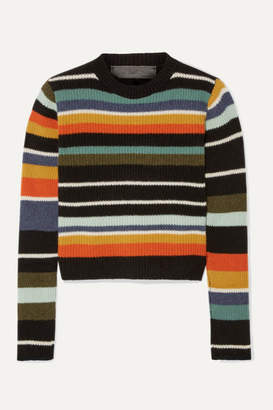 The Elder Statesman Pomona Striped Ribbed Cashmere Sweater - Blue