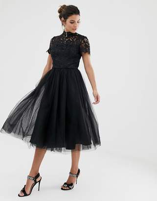Chi Chi London high neck lace midi dress with tulle skirt in black