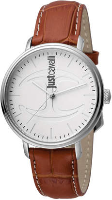 Just Cavalli 40mm CFC Men's Stainless Steel Watch w/ Leather Strap, White/Brown