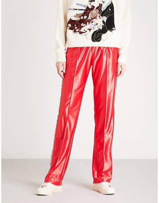 Gucci Womens Red Stripe Sequin-Embellished Satin Joggers