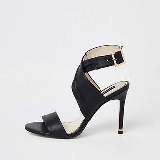 18743a2e0a5c at River Island · River Island Womens Black leather wrap skinny heel sandals